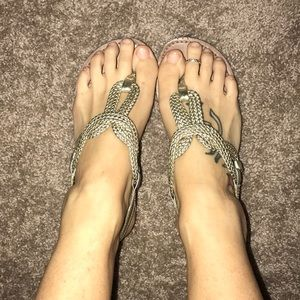 Braided gold thong sandals
